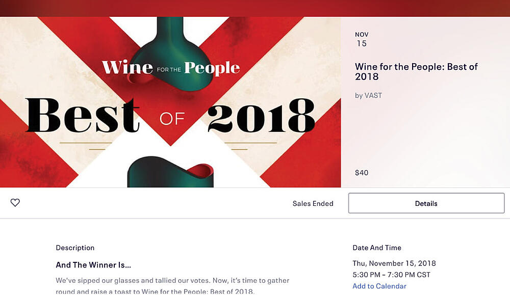 Wine for the People - Best of 2018 Event