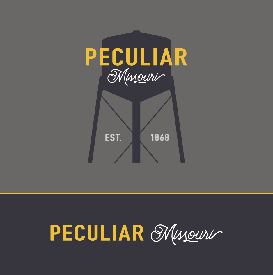 Our work: Peculiar, Missouri's new logo, featuring the town's three-legged watertower.